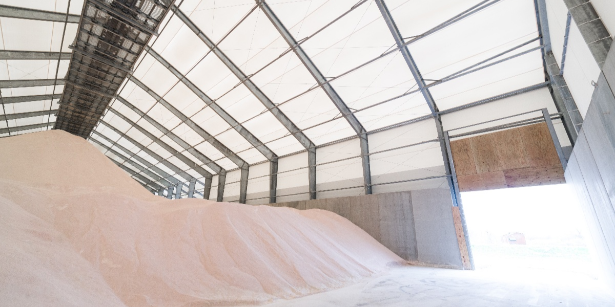 Photo of fabric storage for feed and grain