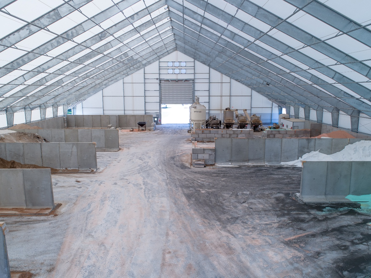Photo of a fabric storage building for fertilizer